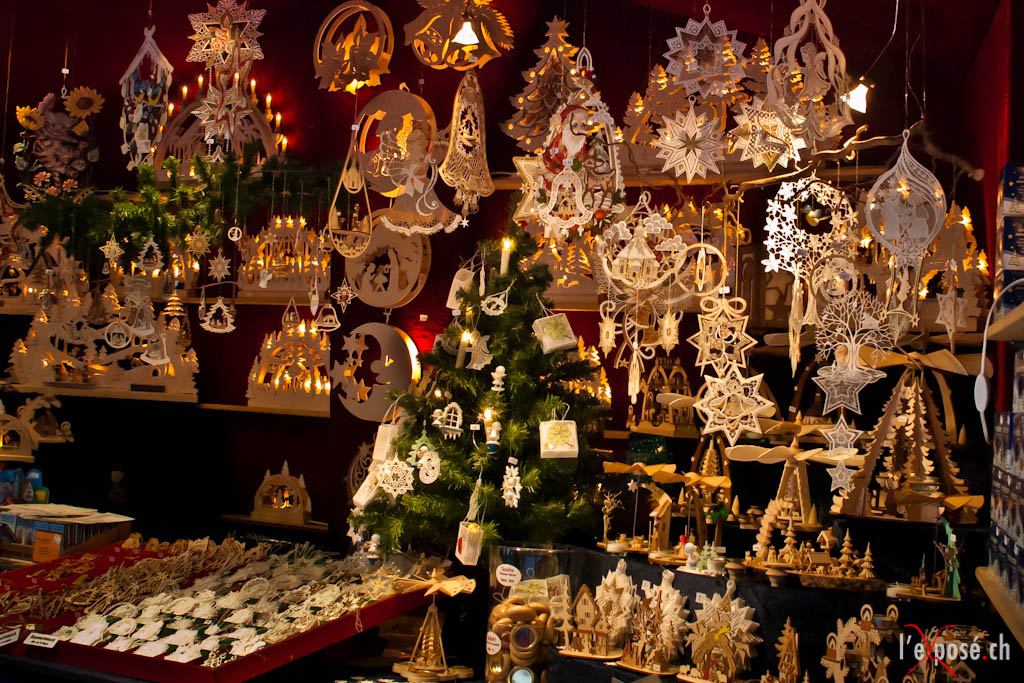 Carved Wood Ornaments and Lights