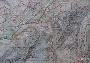 Topgraphic Map around Rosenlaui Valley and Glacier