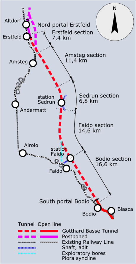 Gotthard Base Tunnel Route.  Image Source: Wikipedia - Author W.Rebel. (CC BY 3.0)