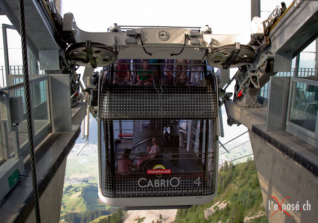 Stanserhorn Cabrio Descends from the Summit