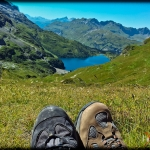 Hikers and the Engstlensee