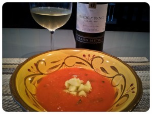 Gazpacho Served with Apologia Bianco from Valais Switzerland